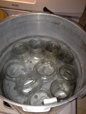Boiling the jars and rings.